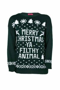 Womens Plus Ivy Filthy Animal Xmas Jumper - green - 18, Green