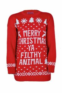Womens Plus Ivy Filthy Animal Xmas Jumper - red - 20, Red