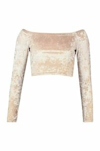 Womens Tall Crushed Velvet Off Shoulder Crop Top - beige - 16, Beige