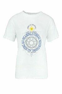 Womens Tall Celestial Print T-Shirt - white - L, White