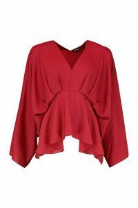 Womens Tall Kimono Sleeve Peplum Blouse - red - 10, Red