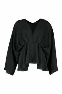 Womens Tall Kimono Sleeve Peplum Blouse - black - 12, Black