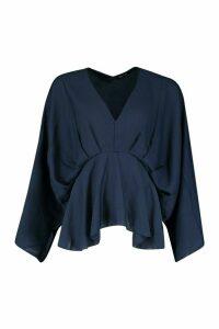 Womens Tall Kimono Sleeve Peplum Blouse - navy - 12, Navy