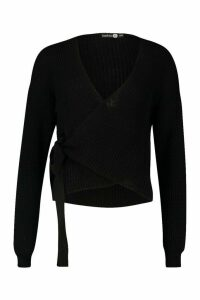 Womens Tall Blouson Sleeve Wrap Cardigan - black - M/L, Black