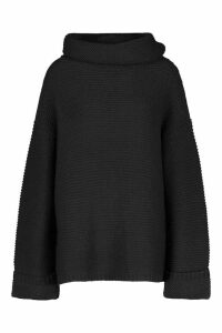 Womens Tall Cowl Neck Jumper With Split Side Seam - black - M, Black