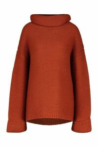 Womens Tall Cowl Neck Jumper With Split Side Seam - orange - XS, Orange