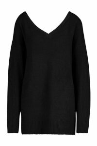 Womens Tall Jumper With V Neck Detail Front And Back - black - XS, Black