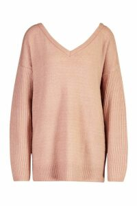 Womens Tall Jumper With V Neck Detail Front And Back - pink - S, Pink