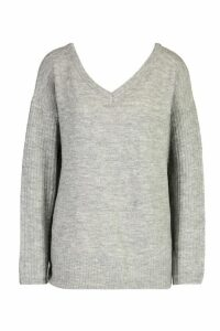 Womens Tall Jumper With V Neck Detail Front And Back - grey - M, Grey