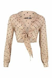 Womens Tall Sheer Polka Dot Tie Front Shirt - Beige - 10, Beige