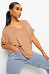 Womens Oversized Boyfriend V Neck T-Shirt - beige - M/L, Beige