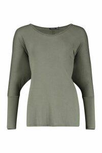 Womens Basic Long Sleeve Oversized T-Shirt - green - 6, Green