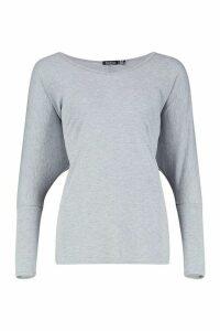 Womens Basic Long Sleeve Oversized T-Shirt - grey - 6, Grey