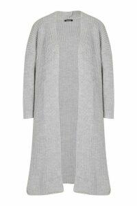 Womens Tall Soft Knit Maxi Cardigan - grey - M/L, Grey