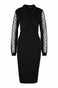 Womens Polka Dot Mesh Sleeve Wrap Midi Dress - black - 14, Black