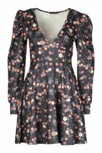 Womens Floral Print Puff Sleeve Skater Dress - black - 12, Black
