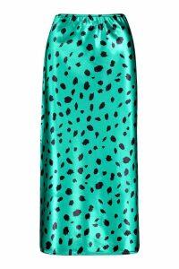 Womens Smudge Print Satin Slip Skirt - Green - 14, Green