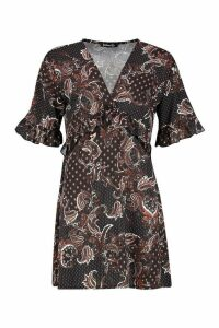 Womens Woven Paisley Ruffle Smock Dress - Black - 10, Black
