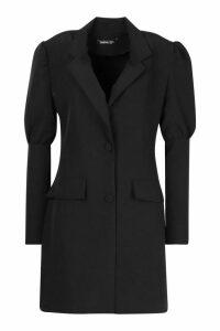 Womens Woven Puff Sleeve Blazer Dress - Black - 14, Black