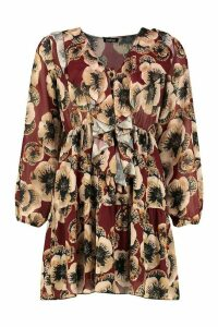Womens Floral Print Ruffle Detail Smock Dress - Red - 10, Red