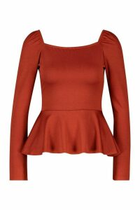 Womens Recycled Square Neck Peplum Top - red - 12, Red