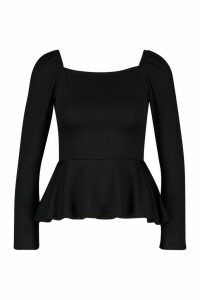 Womens Recycled Square Neck Peplum Top - Black - 12, Black