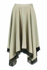Womens Lace Trim Midi Skirt - green - 14, Green