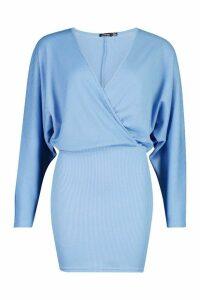 Womens Recycled Drop Sleeve Plunge Mini Dress - Blue - 16, Blue