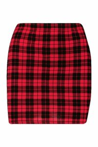 Womens Tartan Check Jersey Mini Skirts - red - 14, Red