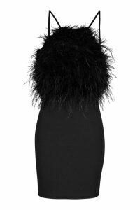 Womens Feather Mini Bodycon Dress - black - 14, Black