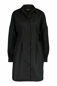 Womens Woven Balloon Sleeve Shirt Dress - black - 10, Black