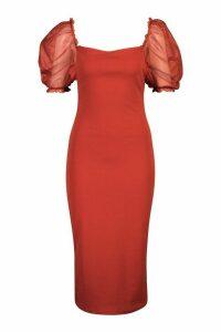 Womens Square Neck Mesh Sleeve Midi Dress - orange - 16, Orange
