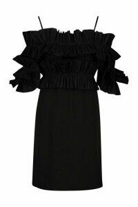 Womens Ruffle Bardot Mini Dress - black - 10, Black