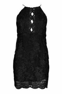 Womens Mesh Lace Detail Strappy Back Mini Dress - black - 6, Black