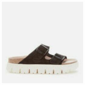 Birkenstock Papillio Women's Arizona Suede Chunky Sole Double Strap Sandals - Black - UK 7 - Black