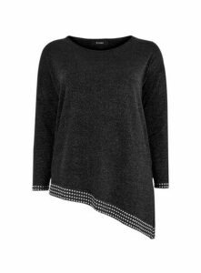 Black Embellished Detail Asymmetric Jumper, Black