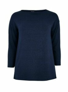 Navy Blue Slash Neck Top, Blue