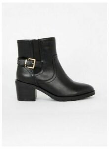 Extra Wide Fit Black Heeled Buckle Ankle Boots, Black