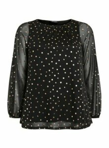Black Mesh Metallic Polka Dot Top, Black
