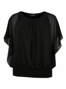Black Overlay Blouse, Black
