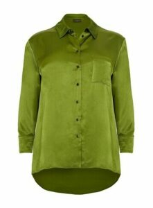 **Live Unlimited Alligator Green Viscose Satin Shirt, Mid Green