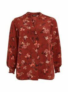 Rust Floral Print Shirt, Wine
