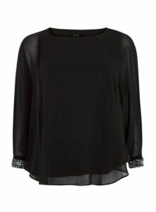 Black Sparkle Cuff Overlay Top, Black