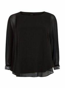 Black Sparkle Cuff Overlay Top, Black
