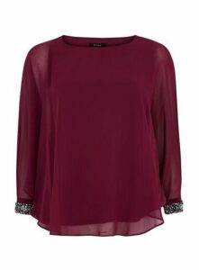 Wine Red Sparkle Cuff Overlay Top, Berry