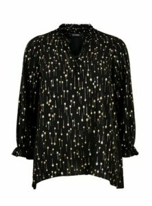 Black Metallic Foil Print Top, Black