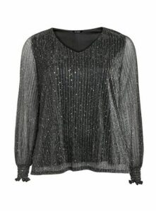 Silver Sparkle Shirred Cuff Top, Silver