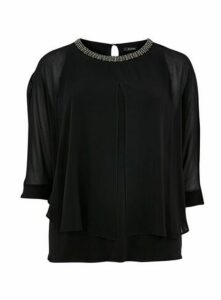 Black Sparkle Neckline Overlay Blouse, Black