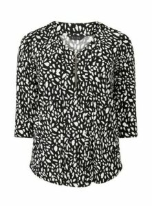 Black Abstract Animal Print Zip Detail Top, Black