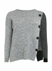 Grey Button Detail Jumper, Grey